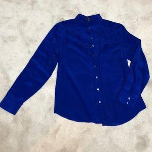 Ann Taylor blue silk blouse
